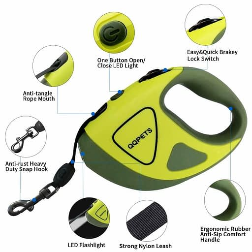 QQPets Extending dog lead with LED torch.
